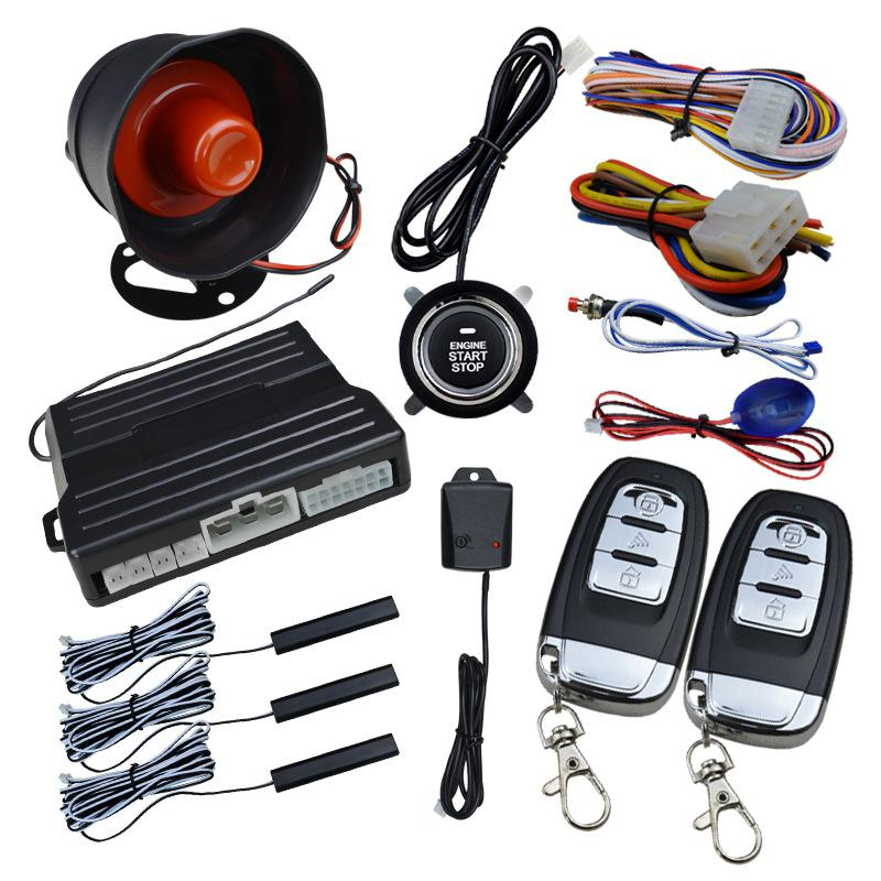 Yfashion Smart Key PKE voiture alarme moteur démarrage arrêt bouton poussoir capteur de choc système