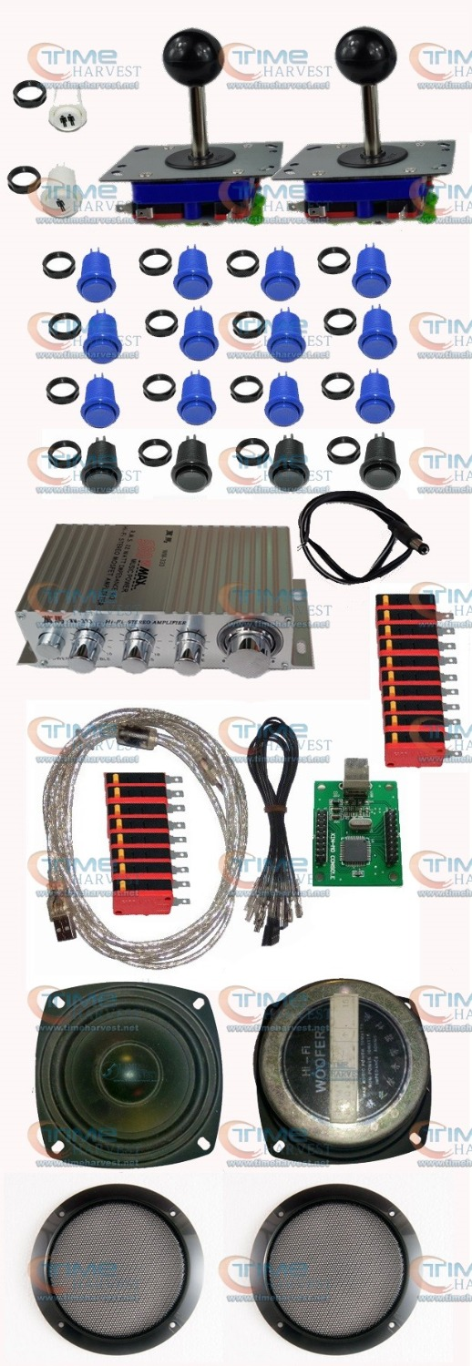 ФОТО Arcade parts Bundles Kit with 2 player USB adapter wires Joystick amplifier US button Microswitch Player buttons Arcade machine