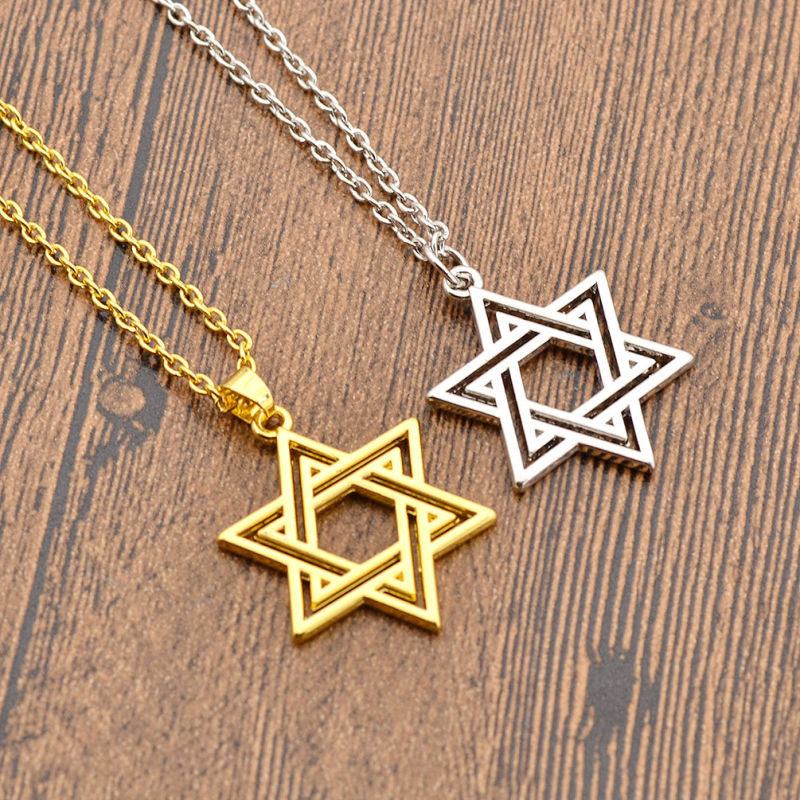 Jewish Star of David Charm Necklace Silver Color Gold Pendant Chain Statement Jewelry Valentine's Day gifts|star of david|jewish star of davidpendant chain - AliExpress