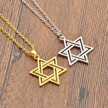 Ожерелье с подвеской в виде еврейской звезды Давида, золотая цепочка серебряного цвета с кулоном, эффектные украшения, подарки на день Свят...