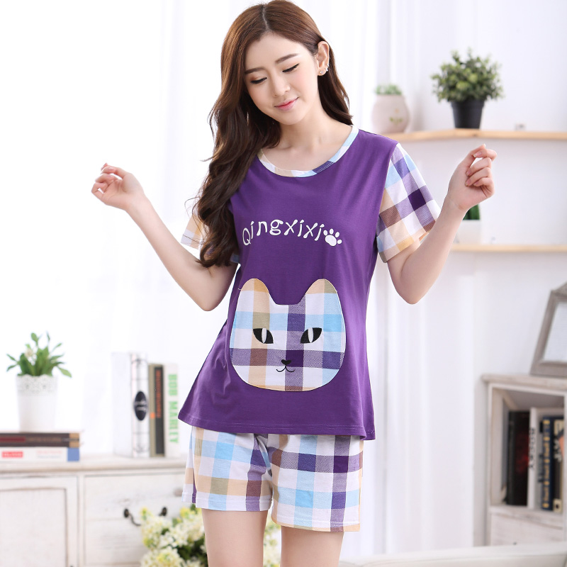 Underwear & Sleepwears Hot Selling Summer Cute Pajamas Sets Cartoon Monkey Printed Cotton Women Pajamas Short Sleeve Loungewear Pyjama Femme Clothing Women's Sleepwears
