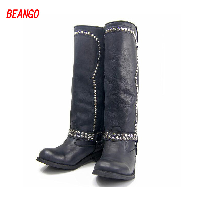 BEANGO High Quality Rivets Women Knee High Boots Black Genuine Leather Flats Casual Shoes Woman Winter New Lady Long Knight Boot  handmade high quality 2017 summer new knee high boots gladiator women sandals boot real leather flats casual shoes black size 41
