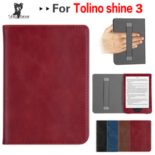 Flip Cover Case for Tolino SHINE 3 Black Protective Case PU Leather Pouch Sleeve with Hand Holder + Gift new creative design case only for hp spectre x360 13 3 laptop sleeve case pu leather protective cover gift