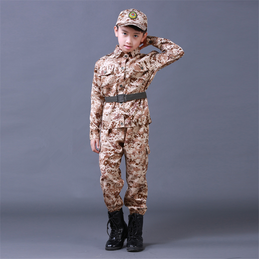 Army Clothes Children's Suits for Boys Camouflage Customes Sets Clothes&Pants&Hat&Belt Military Uniform Kids Clothing 100-180CM double fleece camo suits fabric jungle camouflage hunting clothing sets for hunter clothes
