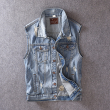 Fashion Streetwear Men Vest Blue Color Destroyed Ripped Denim Sleeveless Jackets Casual Outwear British Style Hip Hop