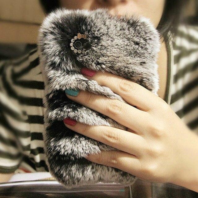 Luxury real top rex rabbit hair fur plush Soft leather shell case for iphone 7 7plus 6 6s plus 5 5s SE bow Diamond elegant case