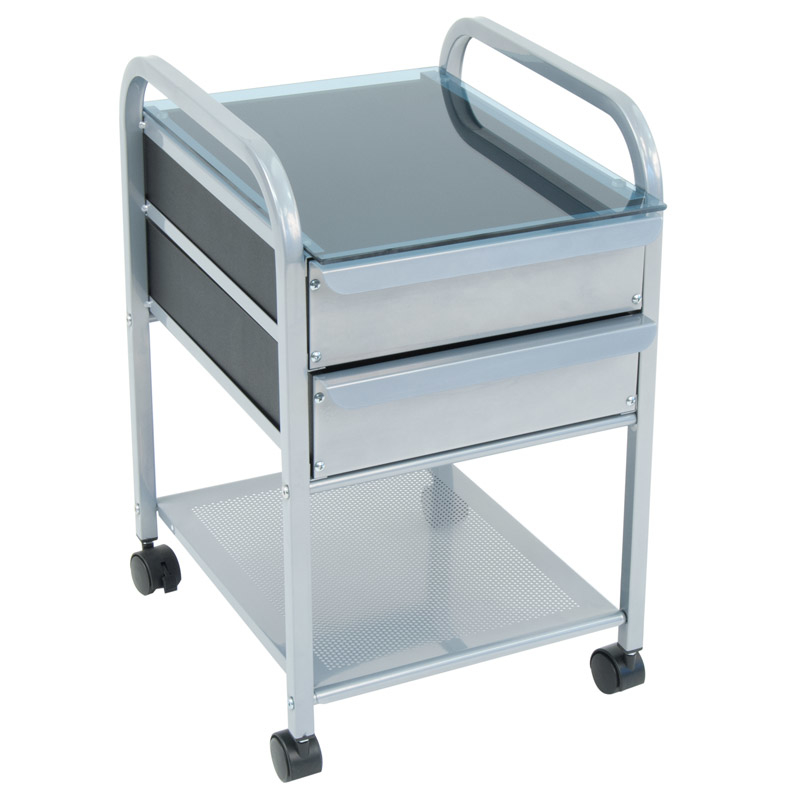 Offex Home Office Futura Vision 2 Drawer Organizer - Silver/Blue Glass цена