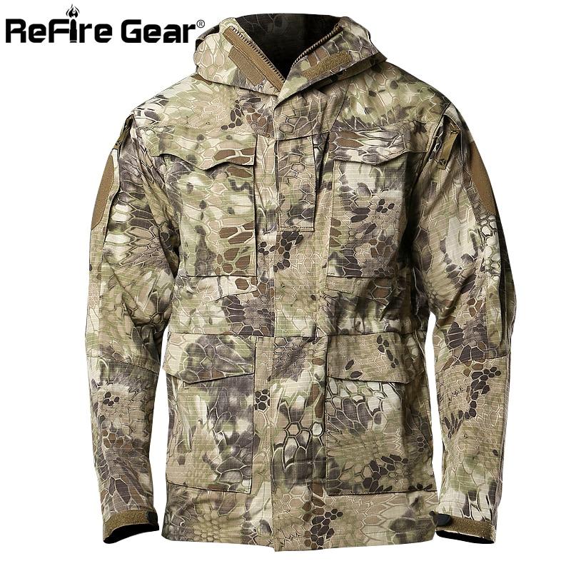 31b04ffd7a2 ReFire Gear Python Camouflage US Army Tactical Field Jacket Men Waterproof  Autumn Hoodie Coat Windbreaker Military Pilot Jackets-in Jackets from Men s  ...