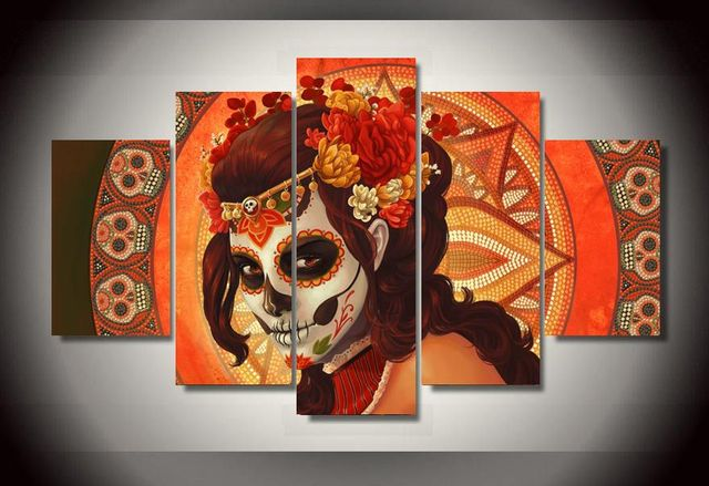 aliexpress : buy 5 panel canvas art set day of the dead face