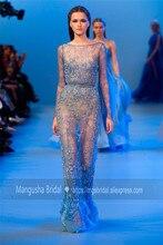 2016 Elie Saab Design Abendkleid Voller Kristall Perlen Transparente Luxus Kleider Cocktail Party Robe De Soiree MY1019-16