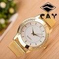 Personalidad de la moda de Línea De Diamantes de Cristal de Oro Malla De Acero Correa de Reloj de Cuarzo Relojes de pulsera de Lujo Reloj de Señoras de las Mujeres Femeninas