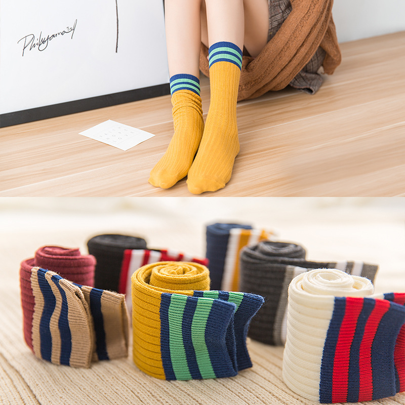 5 Pairs/Lot Striped Spring Cotton Women Socks For Schoolgirl New Fashion Long Patchwork Casual Breathable Ladies Socks
