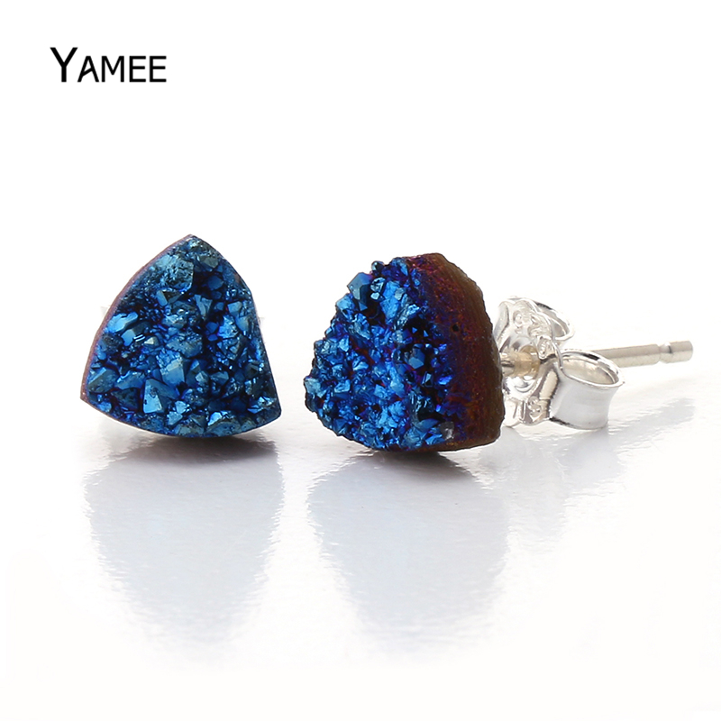 Triangle 6mm Natural Stone Druzy Agates Quartz Stud Earrings 925 Sterling Sliver Blue Titanium Trending Charms Products 2018