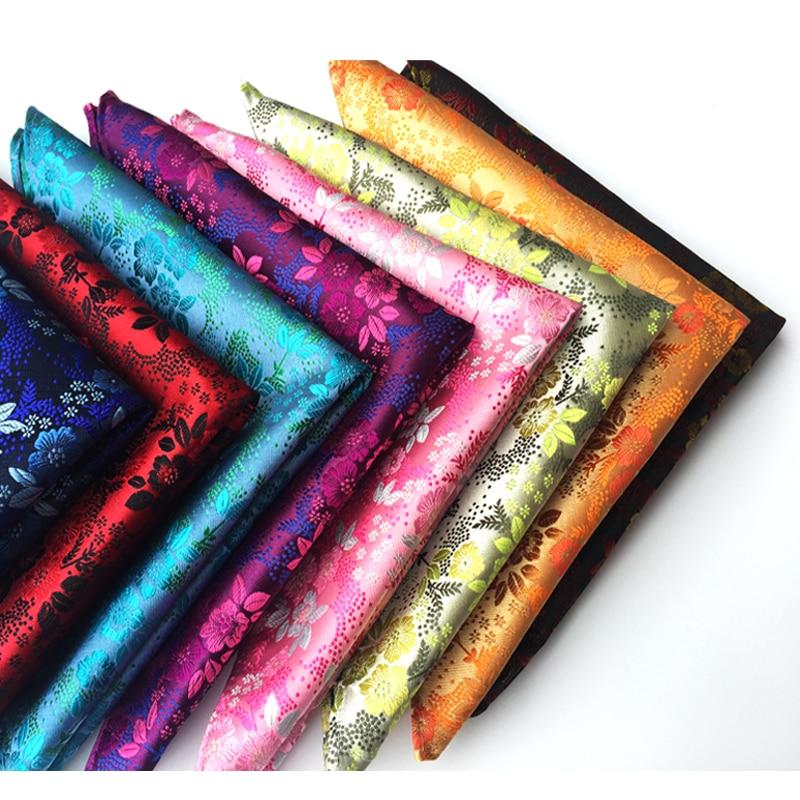 25x25cm Big Size Men Pocket Square 2400 Strands High Density Floral Paisley Handkerchief For Wedding Party