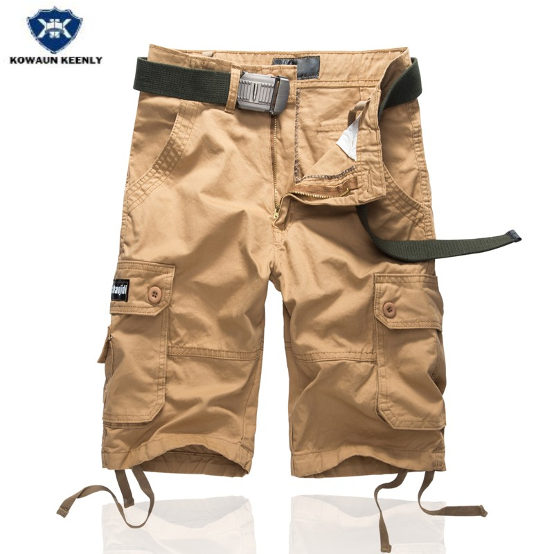 Kowaunkeenly 2018 summer new arrival Mens high quality camouflage Cargo pants,Fashion multi-pocket cutton short pants men,29-38