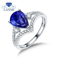 Natural Pear Tanzanite Rings Real 14K White Gold Shinning Diamond Wholesale Fine Jewelry Mom Loving Birthday Gift