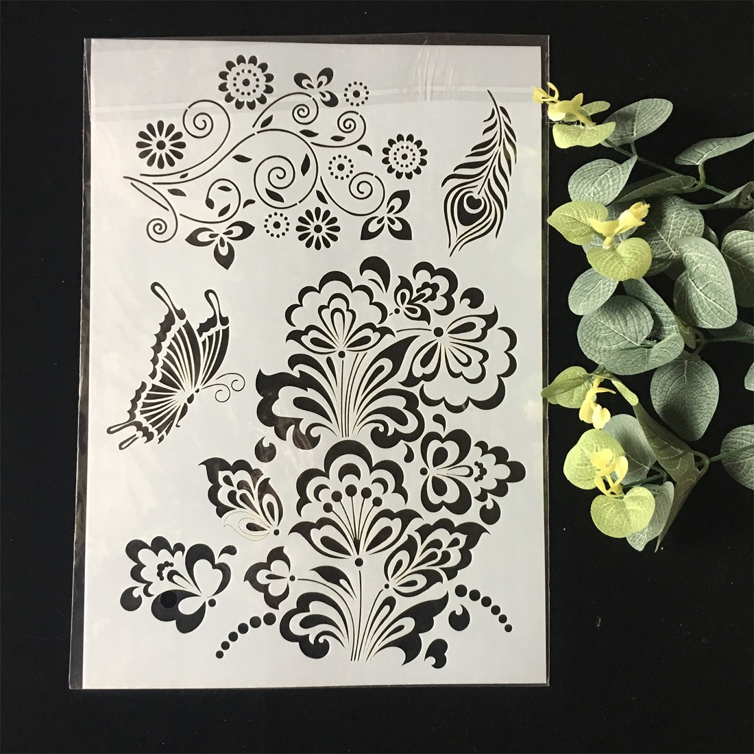 New A4 Butterfly Flower DIY Layering Stencils Wall Painting Scrapbook Coloring Embossing Album Decorative Paper Card Template