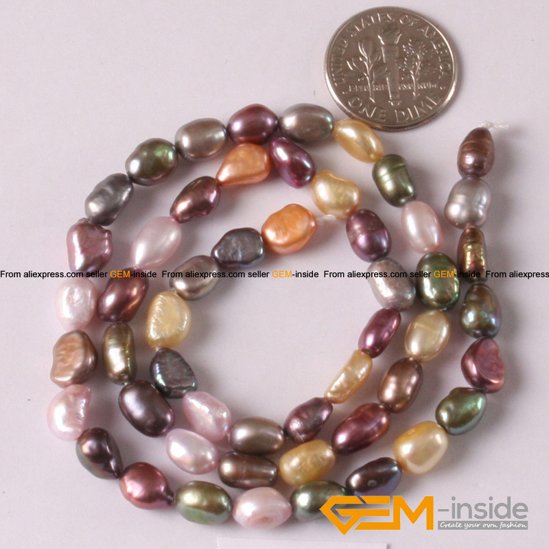 Pearl: 5-6mm Freeform Mixed Color Natural Freshwater Pearl DIY Pearl Beads For Bracelet Making Strand 15 Inches Hot Item !