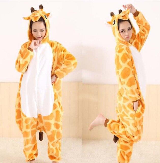 Фланель с рисунком аниме Комбинезоны взрослых животных Косплэй пижамы жираф  пижамы одежда для сна зима теплая 16c563f6118a9