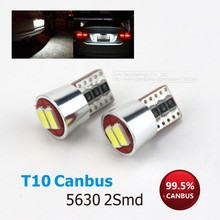 2X Top Quality T10 W5W LED Canbus 2SMD 5730 5630 Pure White Error Free Car Instrument Lights Auto Dashboard Lamp 194 168 501