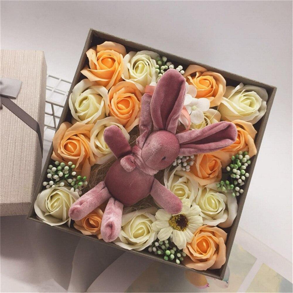 Simulation Carnation Fleurs Rose Tenant Une Fleur Boite Cadeau