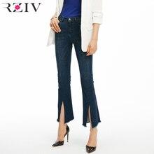 77a2c83ca59 RZIV 2018 otoño mujer jeans denim Pantalones y gran estiramiento split skinny  jeans Mujer para señoras flare jeans estilo OL