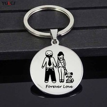 YGLCJ 2019 Family Fashion Stainless Steel Pendant Key Chain Puppy Key Chain Stainless Steel Jewelry Factory Direct Sales