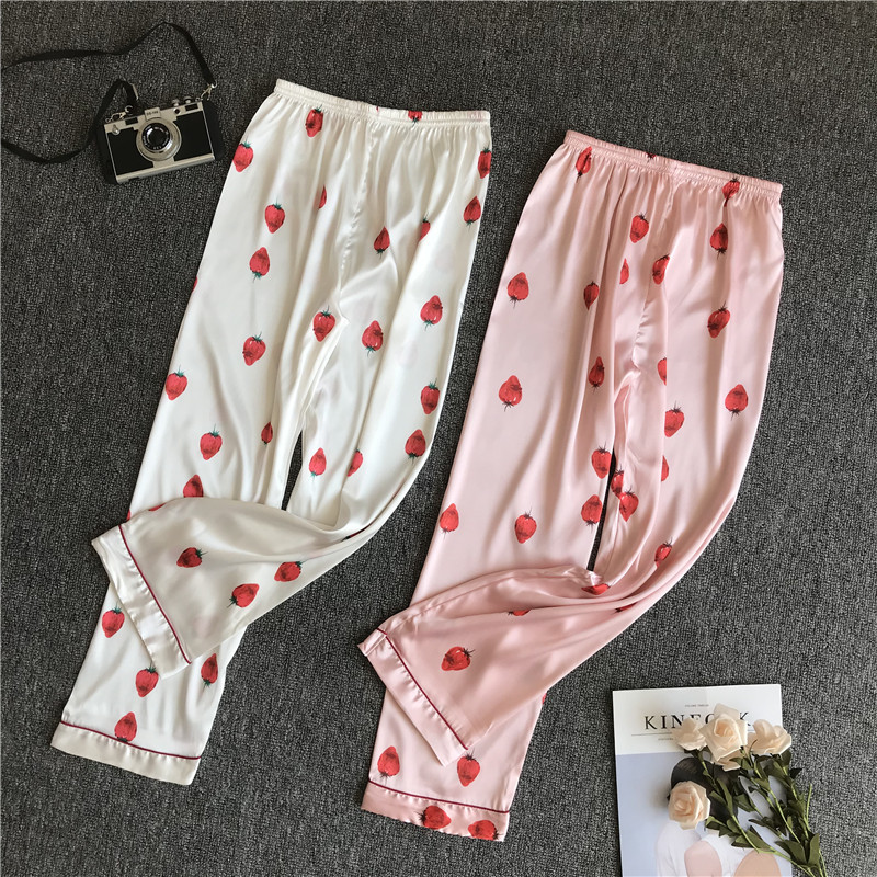 Fresh Strawberry Satins Silk Home Pants Women Pink Sleep Bottoms Korea Indoor Pajamas Pants For Women Home Trousers