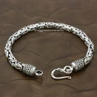 925 Sterling Silver Cube Bali Byzantine King Chain Mens Bracelet 8G010
