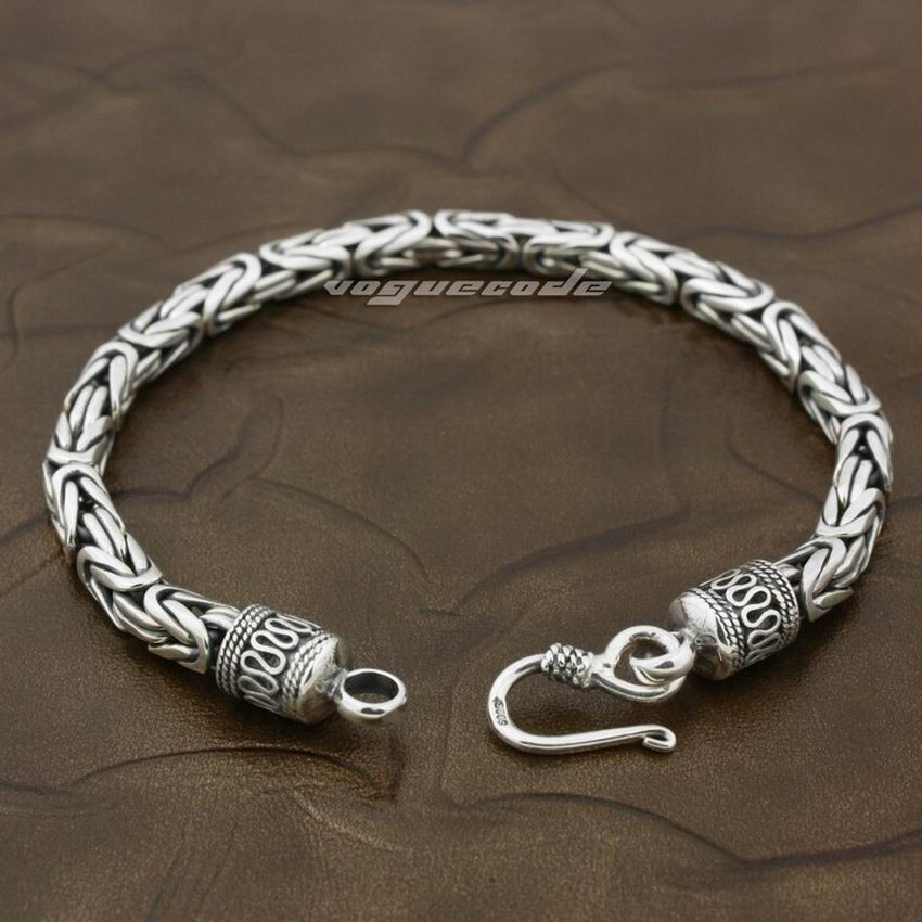 925 Sterling Argent Cube Bali Byzantin Roi Chaîne Hommes Bracelet 8G010