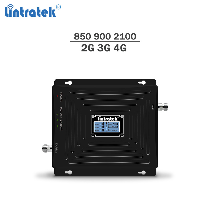 Lintratek Repetidor 850Mhz 900Mhz 2100 Booster 2G 3G GSM Repeater GSM B1/B5 Booster 2G 3G Mobile Signal Amplificador Tri-band #7