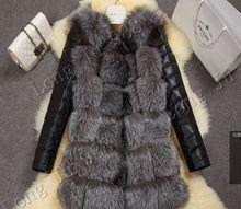 Чернобурки шуба теплое ярдов лиса зимнее имитация рукава pu новая высокая