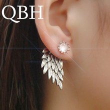 EK101 New Fashion Party Bijoux Brincos Crystal Angel Wing HOT Gothic Women s Feather Crystal Stud