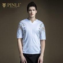 Pinli Rushed V-ausschnitt Bambusfaser Keine Produkte 2017 Neue Sommermode herren Druck V Kragen Kurzarm T-shirt B172611219