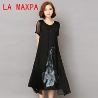 Fashion2017 New Spring Summer White Black Ink Print Women Long Dress Retro Short Sleeve Cotton Linen