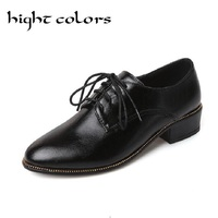HIGHT COLORS British Retro Womens Brogue Lace Up Wing Tip Oxford Chunky High Heels Shoes For