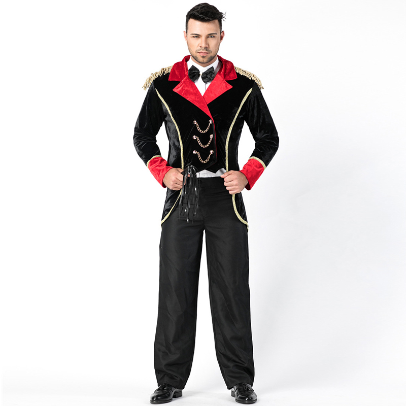 Ringmaster Tuxedo Costume For Adult Mens Circus Tamer Magic Show Fantasia Outfit Performance Fancy Dress