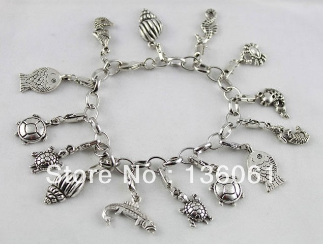 Vintage Silvers Mixed Sea Animal Pendant Stainless Steel Chain Charm Good Luck Bracelet Bangle For Women DIY Jewelry 5pcs Z661