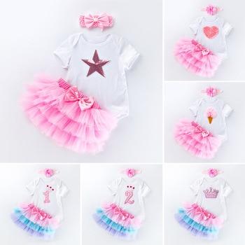 f594033ff Ropa de verano para Niña 0-2 años vestido de Cumpleaños conjunto de trajes  de ropa para infantes pelele diadema tutú falda