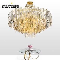 Po nowoczesny kryształ LED żyrandol kreatywny salon jadalnia pokój osobowości luksusowe Nordic minimalistyczne żyrandole w Wiszące lampki od Lampy i oświetlenie na