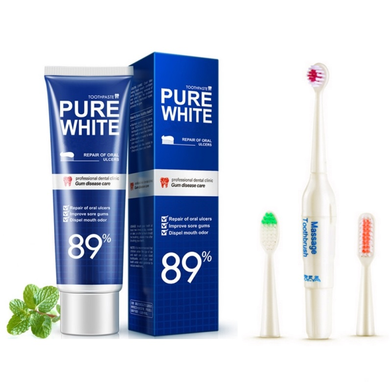 Fresh Cool Toothpaste Electric Toothbrush Set Gingival Oral Tooth Cleaning Health Protect Teeth Clean White Teeth Care Enamel. image