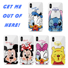 купить Phone Case for iPhone X XS MAX XR 6 6S 7 8 Plus Mickey Minnie Mouse Donald Duck Stitc Pattern Silicone TPU Soft Case Cover Coque дешево