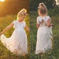 Vintage Lace Bohemian Flower Girl Dresses Sheer Jewel Neck Ruffles Sleeveless Open Back Girls Formal Dress Size 2-16