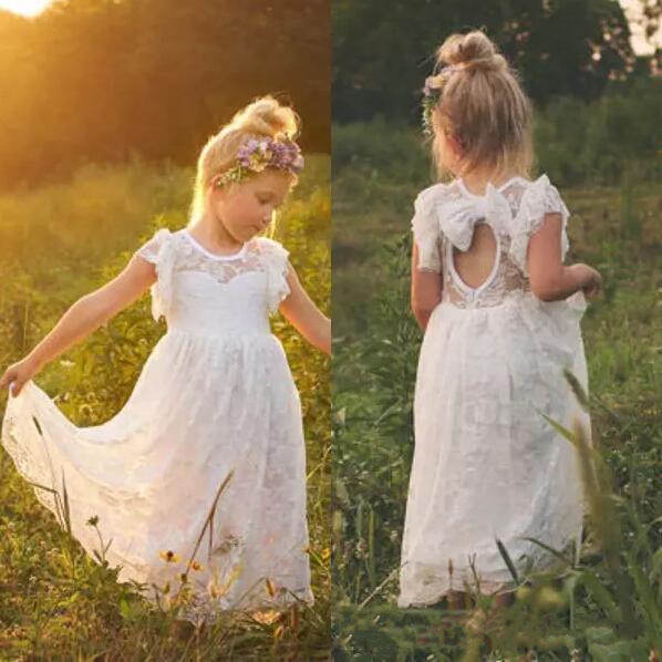цена Vintage Lace Bohemian Flower Girl Dresses Sheer Jewel Neck Ruffles Sleeveless Open Back Girls Formal Dress Size 2-16