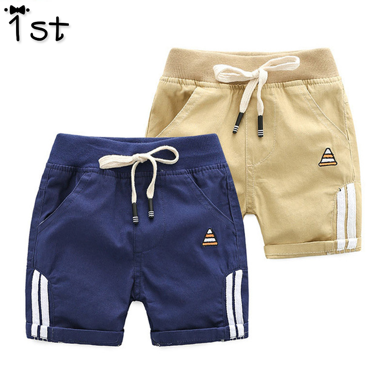 1st 2018 New Summer Children's Clothing Baby Boys Casual Beach   Shorts   Cotton Embroidered Striped Casual   Shorts   Trousers k1