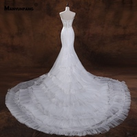 MANYUNFANG 2019 Fashion Trumpet Mermaid Wedding Dress Tiered Style Skirt Lace Wedding Dress Vintag Ruched Train Wedding Gowns