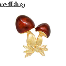 mziking New Enamel Red Cute Mushroom Brooches for Women Men's Alloy Plants Banquet Party Brooch Lady's Hat Bag's Accessories(China)