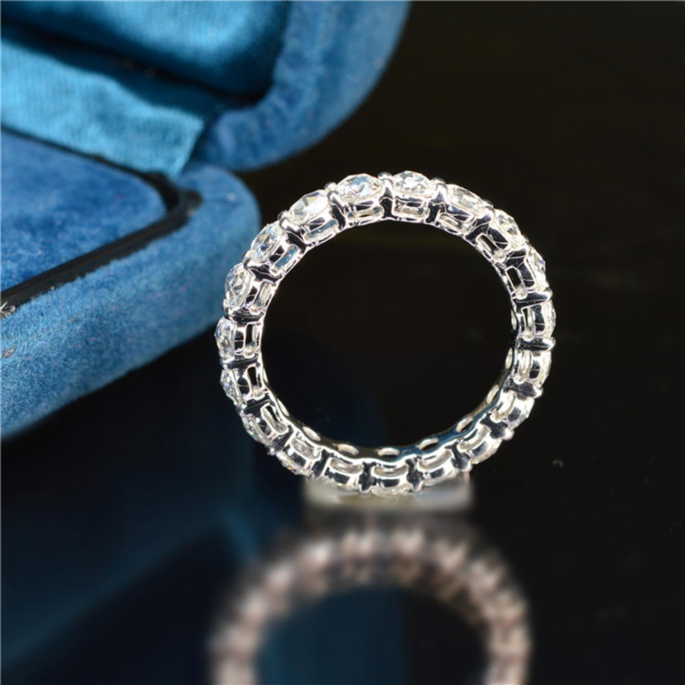 Solid 14K 585 White Gold 5mm 4mm 3mm F Color Moissanite Eternity Wedding Band Moissanite Ring for Women Ladies Ring-in Rings from Jewelry & Accessories