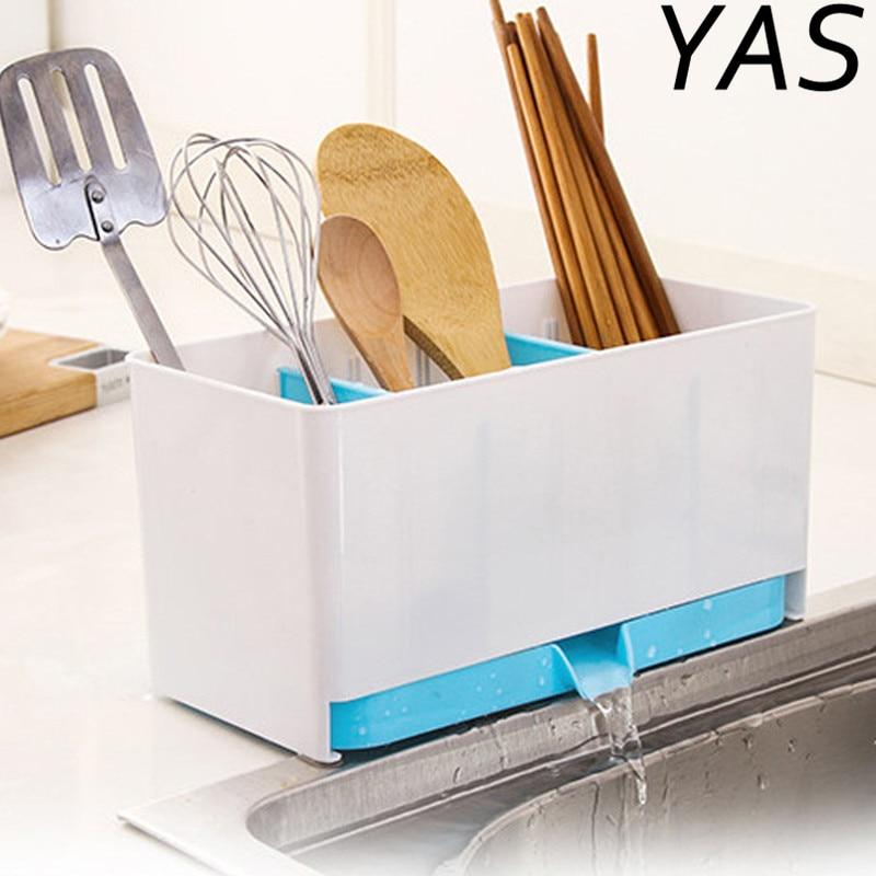 YAS Utensils Holder Rack Candy Sponge Basket Wash Dry Shelf Cutlery Drainer Sink Tidy Organizer Kitchen Tools Storage Organizer