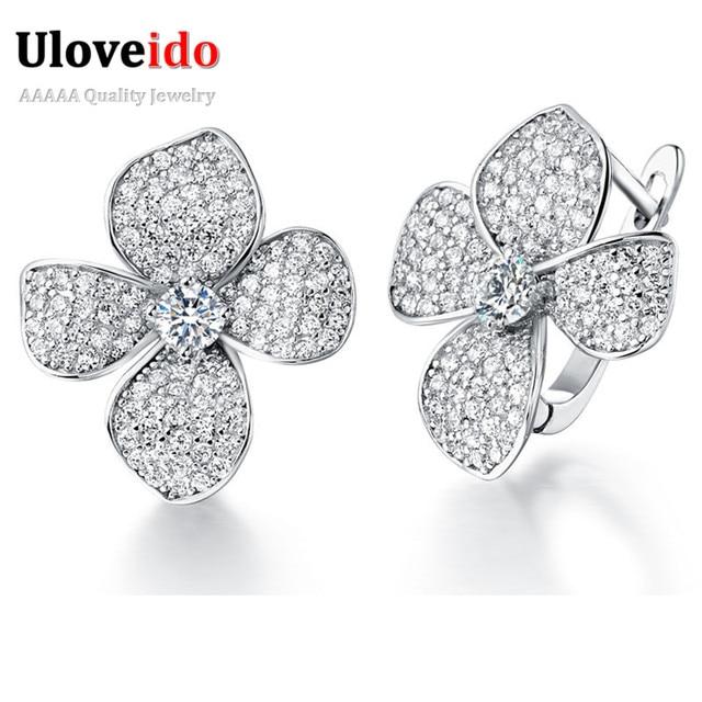 Silver Jewelry Crystal Flower Earrings for Women Clover Jewelry Women's Earrings with Stones Brincos Bijouterie Uloveido R136